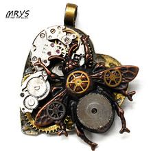 steampunk gothic punk rock honey bee heart watch parts necklace pendant chain women men handmade vintage antique diy jewelry new