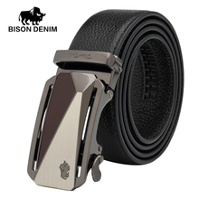 BISON DENIM echtem leder gürtel für männer geschenk gürtel herren automatische Bund ceinture homme luxe marque herren gürtel N71209-2B