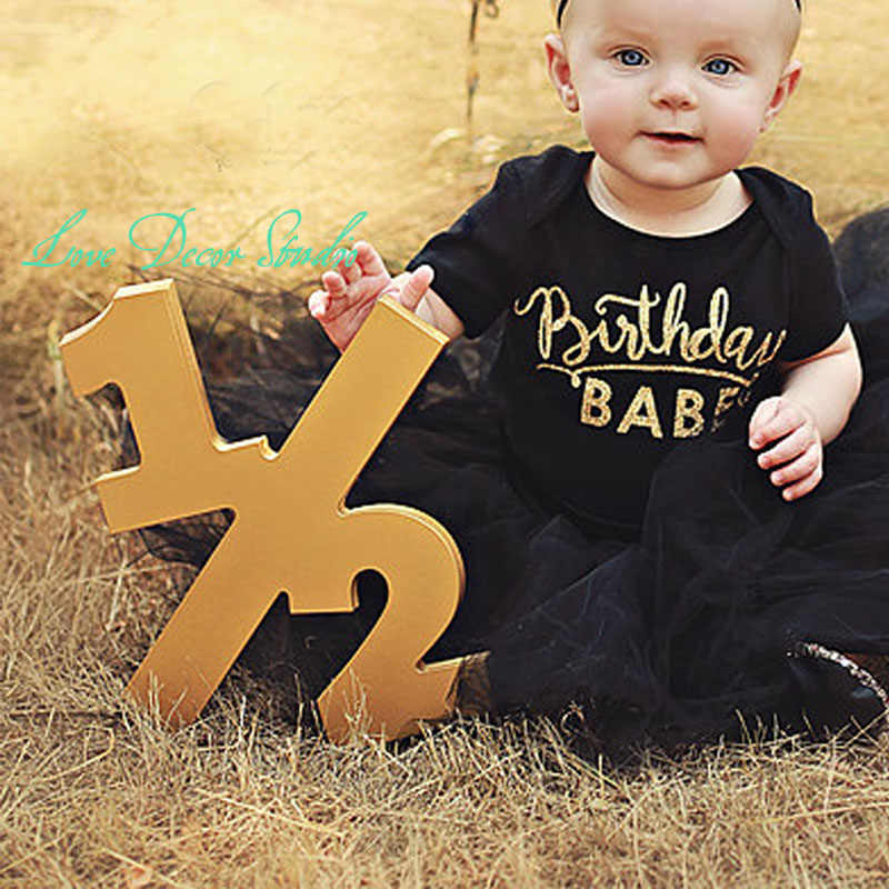 "Half Sign Baby Photo Prop Half Birthday Half Sign 1/2, Birthday Sign, Age Numbers - Photography Props for Photographer 12"" tall"