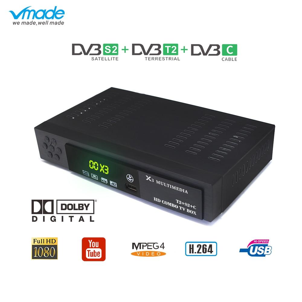 Vmade Newest DVB T2 S2 DVB C 3 In 1 Digital Terrestrial Satellite Combo TV Receiver Support AC3 H.264 1080p DVB T2 S2 TV Tuner