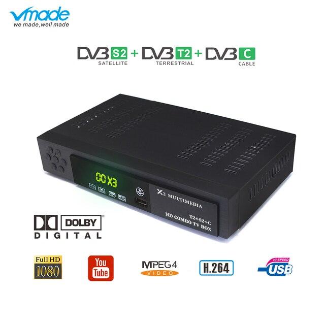 Vmade أحدث DVB T2 S2 DVB C 3 في 1 الرقمية الأرضي الأقمار الصناعية كومبو مستقبل التلفاز دعم AC3 H.264 1080 p DVB t2 S2 موالف التلفزيون