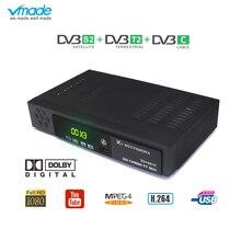 Vmade Mais Novo DVB T2 S2 DVB C 3 em AC3 1 Combo Satélite Apoio Receptor de TV Digital Terrestre H.264 1080 p t2 S2 DVB Sintonizador de TV