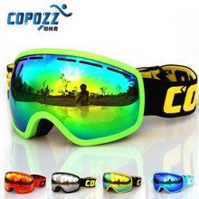 COPOZZ brand professional ski goggles double lens anti-fog UV400 big mask skiing snowboarding men women snow goggles GOG-207