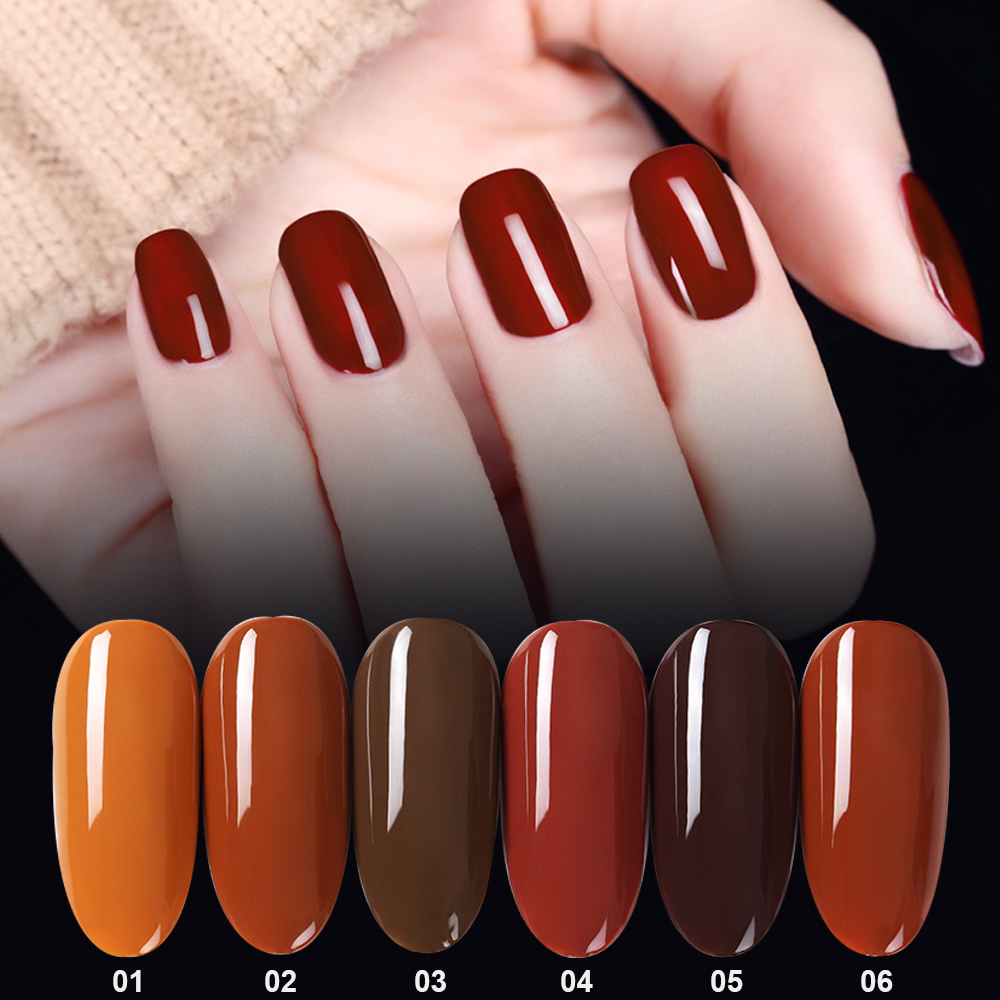 Mordda Fashion Pottery Clay Brown Series Nail Gel 7 3ml Manicure Polish Uv Soak Off