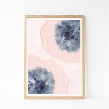 Blush Pink Blue Abstract Floral Wall Art Print Watercolor Flowers Pansies Canvas Painting Picture Decor