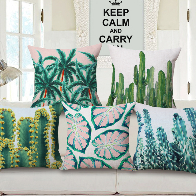 Tropical Plants Cactus Cushion Covers Flowers Green Leaves Cacti Palm Tree Cover Sofa Decorative Beige