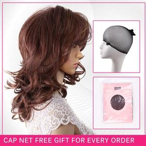 Image 4 - Amir Hair perruque synthétique naturelle complète sans caresse, postiche longue brune et Blonde pour femmes, postiche de cosplay en filet