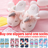 Kids Slippers Girls Unicorn Shoes Children Winter Warm Home Shoes Boys Animal Funny Cotton Fur Indoor Slippers Flip Flops 36 39