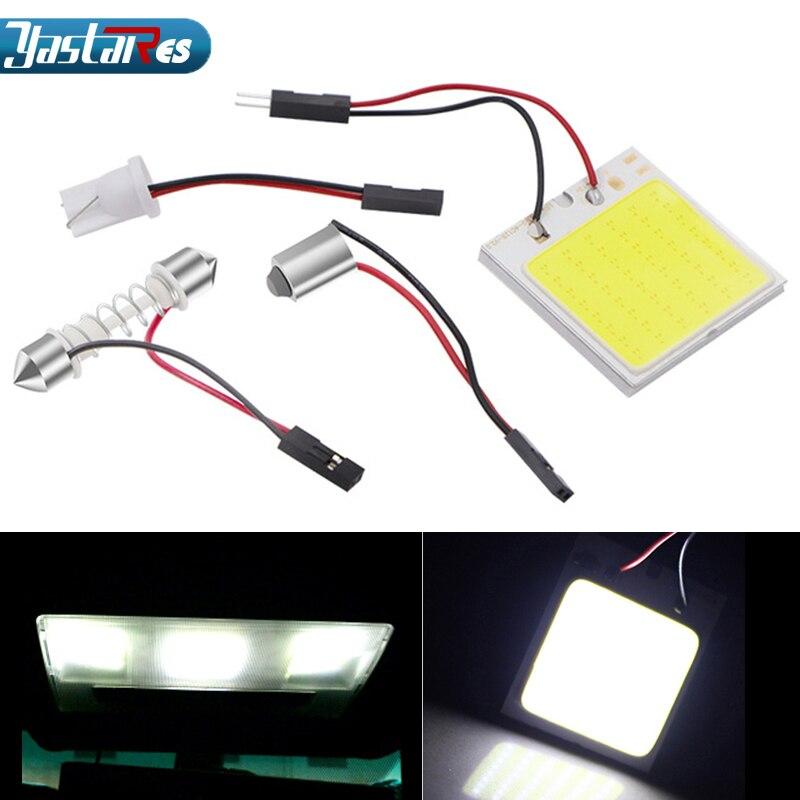 Auto Led Light Cob 48 SMD Chip Super White Automobile Reading Lamp 12v Car Dome Bulb Interior Light-emitting Diode Light Pane