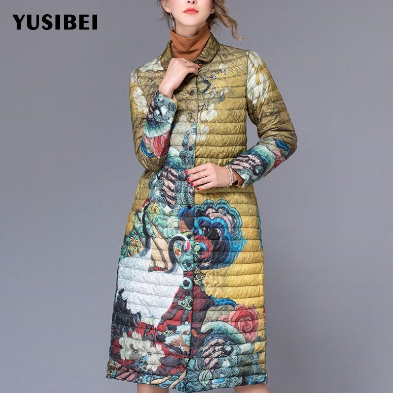 Women Ultra Thin   Down   Jacket Bohemian Folk Floral Printed Long Trench   Coat   Female Elegant Ladies Winter Party Outerwear Overcoat