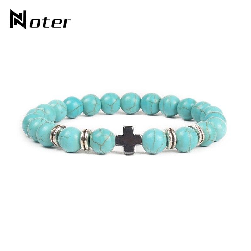Noter Natural Stone Beads Cross Bracelet Handmade Hematite Cross Braclet For Men Hand Jewelry Cruz Homme