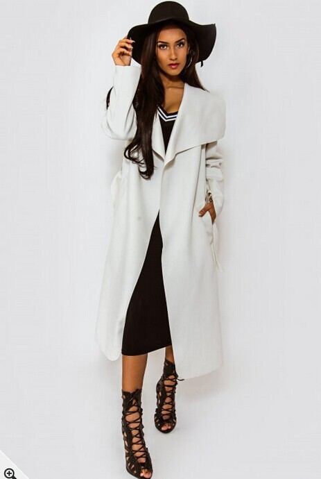 2017 New Fashion Long Maxi Coats Women Winter Wool Irregular Collar Jacket With Belt Loose Black Khaki Solid Woolen Clothing Z10