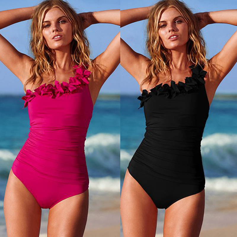 Sexy Women Solid Swimwear One Shoulder Halter One Piece Swimsuit Retro Biquini Bathing Suit Beach Suits Monokini Plus Size S-3XL women sexy one piece swimsuit padded monokini female one piece swim suits halter swimwear push up trikini plus size bathing suit