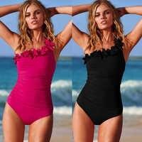 Traje de baño Sexy de una pieza con un hombro Halter traje de baño Retro Biquini trajes de baño de playa Monokini talla grande S-3XL
