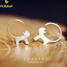 Flyleaf 100 925 Sterling Silver Cute Cat Stud Earrings For Women Fashion Style Girl Jewelry