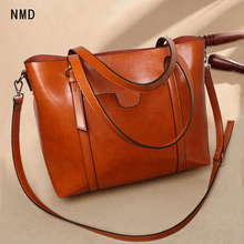NMD Two-color oil genuine leather female shoulder bag zipper opening with open outer bag classic big brand design women tote bag two tone spliced tote bag