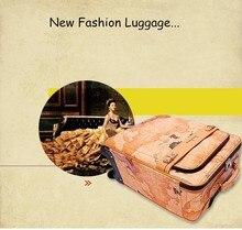 Großhandel! 16 18 20 22 24 «hohe Qualität Weltkarte PU Leder Reisegepäck Koffer auf universal Räder, Retro Koffer für Mädchen