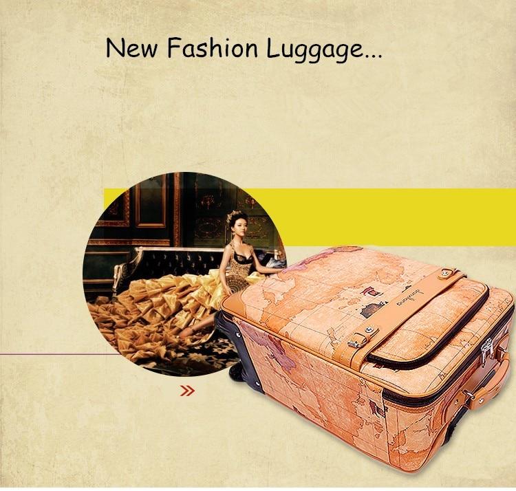 """16 18 20 22 24 """"висококачествена карта на света pu кожа за пътуване багаж куфар на универсални колела, ретро куфар за момиче"""