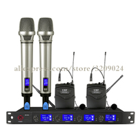 Pro 4 Channels UHF Wireless Microphone Mic System 2 Handheld 2 Lavalier Tie Clip Mic Home Party DJ Karaoke KTV Microphone System