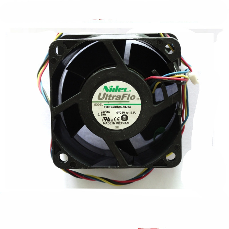 1pcs for NIDEC T60E24BHA5-58J33 DC 24V 0.69A 6038 60 * 60 * 38MM 4-wire cooling fan ct 2p 25a no nc ac220v home ac contactor often open ct1 25 25a lyn brand