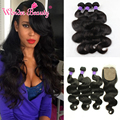 Peruvian Body Wave With Silk Base Closure 8A Peruvian Human Hair 3 Bundles With Closure Unice Peruvian Virgin Hair Body Wave