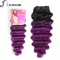 Joedir Pre Colored Deep Wave Indian Hair 1 Bundles Ombre Purple Human Hair Bundles Remy Hair Weave T1bPurple Hair Extensions