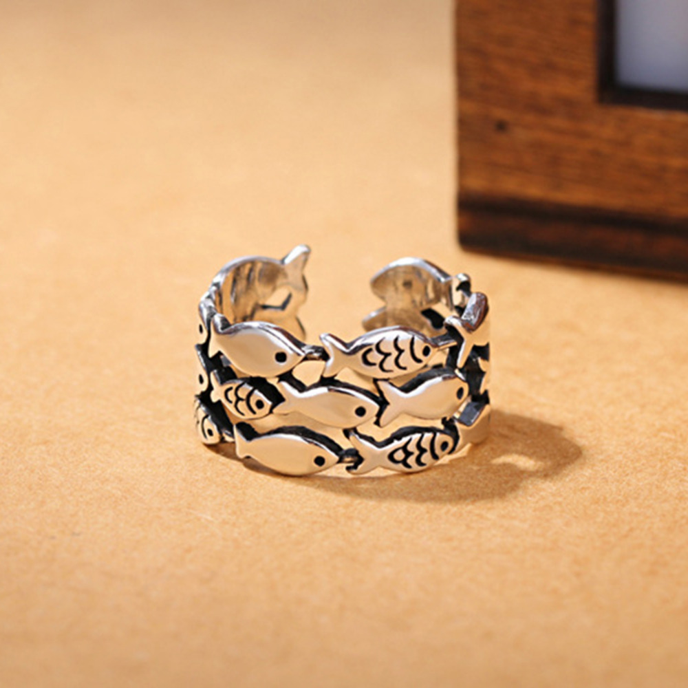 2018 Retro Cool Fish Ring Shape Rings Adjustable Ring Fashion Silver Plated Jewelry For Young People Gift