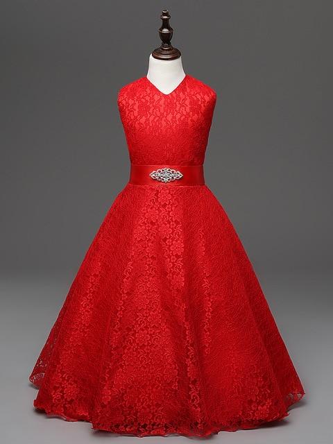 4c6d02650fb 2018 gros enfants Designer vêtements filles 4 à 10 ans enfants mariage  dentelle enfant robe adolescente