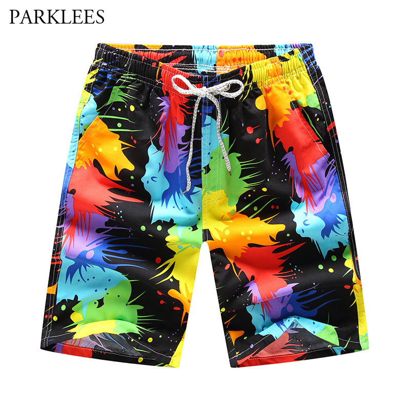 Splash Ink 3D Print Beach Shorts Men Brand Design Mens Board Shorts Summer Quick Dry Shorts Homme Bermudas Hommes Boardshorts