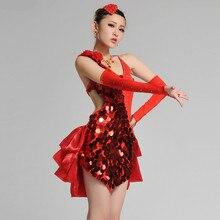 new woman fashion Tuxedo Latin dance dress customize girls blue/red sequins Rumba Samba tango dance costumes competition dress