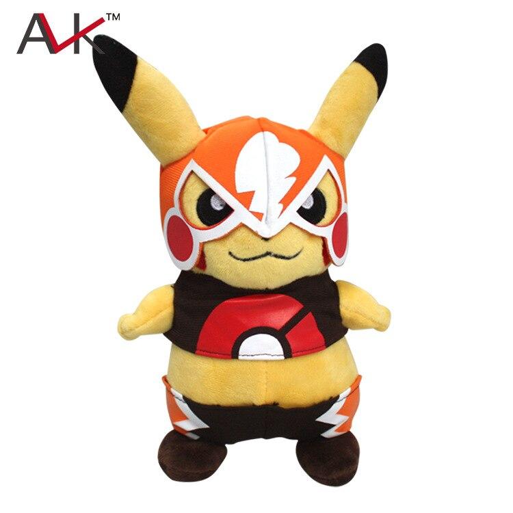 2016 Nouveau 22 cm En Peluche Jouets De Mode Mignon de Bande Dessinée Pikachu porter un masque doux en peluche poupées pour enfants Brinquedos