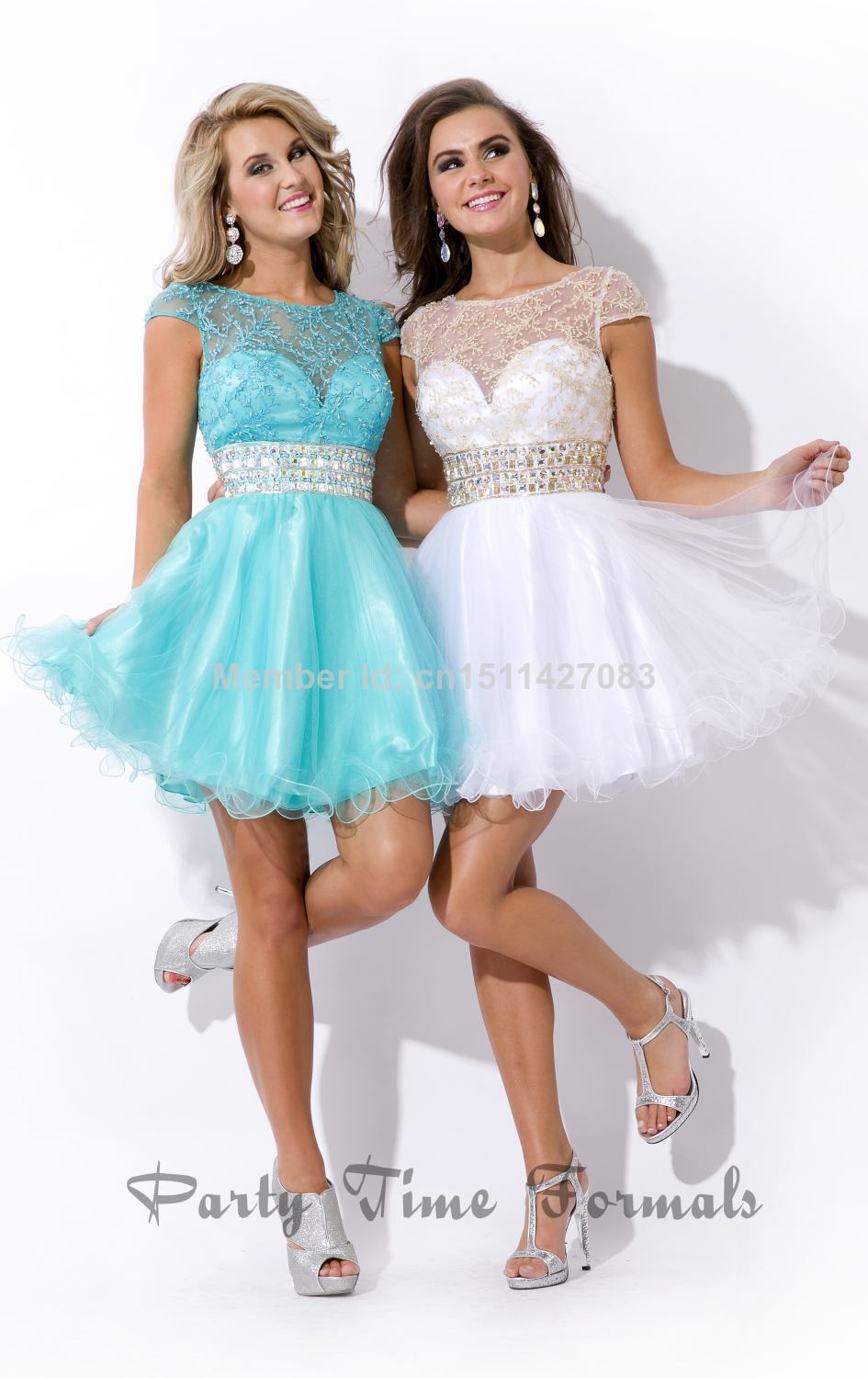 Online Get Cheap Short Blue and White Dresses with Rhinestones ...
