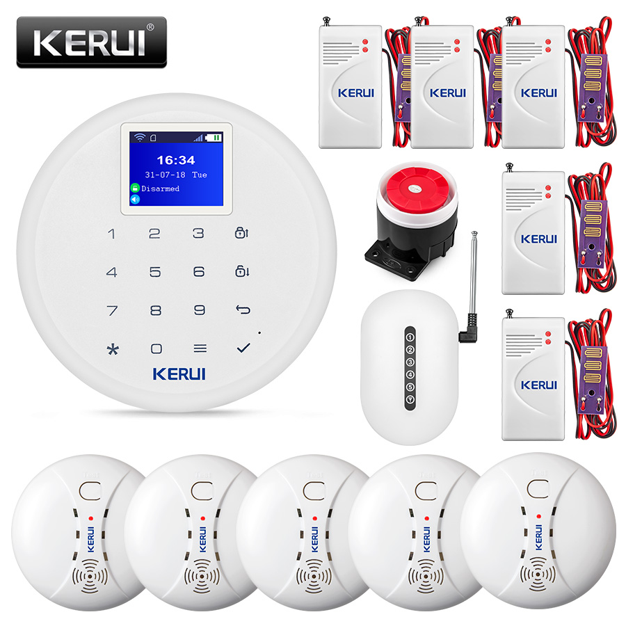KERUI W17 Wireless WiFi GSM Alarm System Home Warehouse Security Fire Smoke Protection Multiple Language