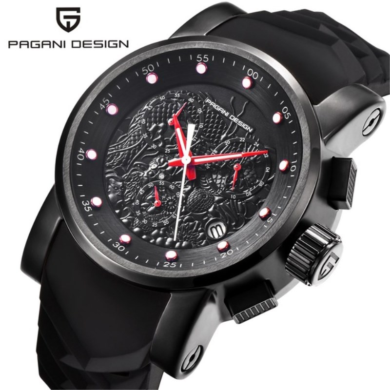 Top Brand PAGANI DESIGN Men Quartz Watch Chinese Dragon Calendar Silicone Chronograph Waterproof Watches Clock Relogio Masculino цены