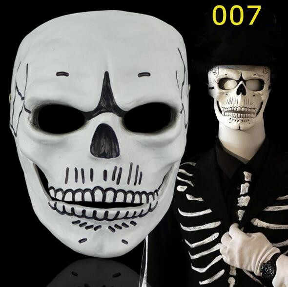 Cosplay Spectre 007 Film James Bond Novelty Creepy Skull Skeleton Full Face Mask Gift for Halloween Party Costume Decorations,White