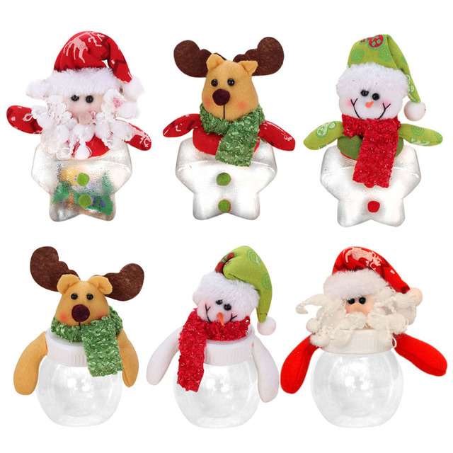 Christmas decorations for home Christmas Candy Holder Mini Santa - plastic christmas decorations