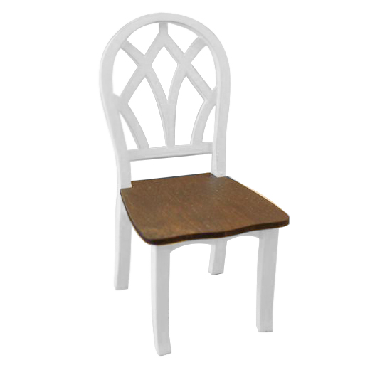 NEW Dollhouse Miniature Kitchen Dining Room Furniture White Wooden Side Chair with Slat Back 1:12 Scale (Color: White & Brown)