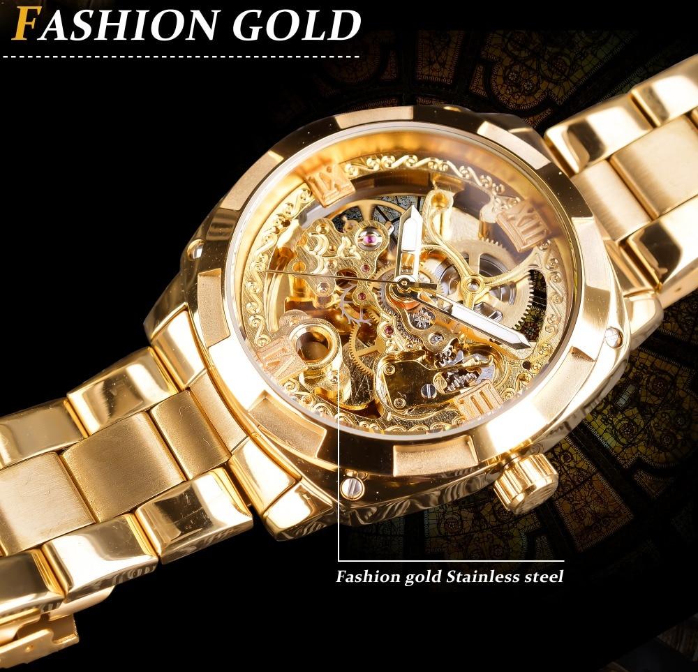 HTB1wj7UXi6guuRkSmLyq6AulFXal Forsining 2018 Fashion Retro Men's Automatic Mechanical Watch Top Brand Luxury Full Golden Design Luminous Hands Skeleton Clock