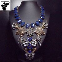 Big Flower Vintage Necklace Choker Statement Blue Austrian Crystal Necklace Stone Chunky Gold Leaf Luxury Boho