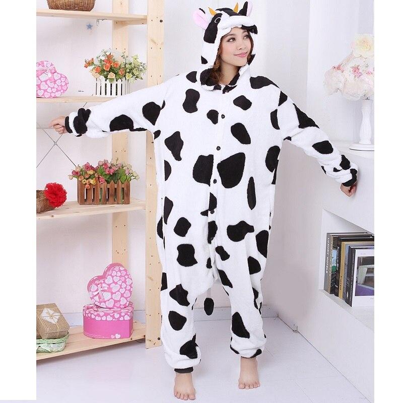 Kigurumi À Manches Longues À Capuche Feu Dragon Vache Panda Girafe Crâne Licorne Animal Pyjama pyjama licorne Flanelle kigurumi pour adultes