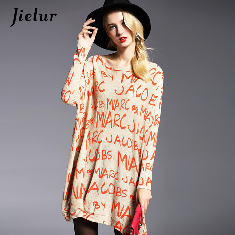 Hitz Winter Fashion Plus Size Women's Sweater Full Sleeve Letters Printed Knitted Sweater Loose Soft Female Pullover Long Tops