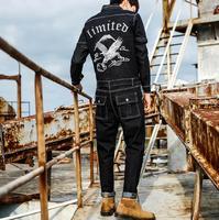 2019 new fashion men's brand denim jumpsuit male Slim youth embroidered denim suit men's feet denim trousers M XXL