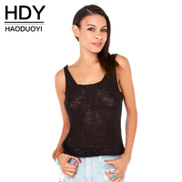 HDY Haoduoyi 2017 Women Tank Top Sex Deep V Neck Hollow Out Sexy Vest Streetwear Backless