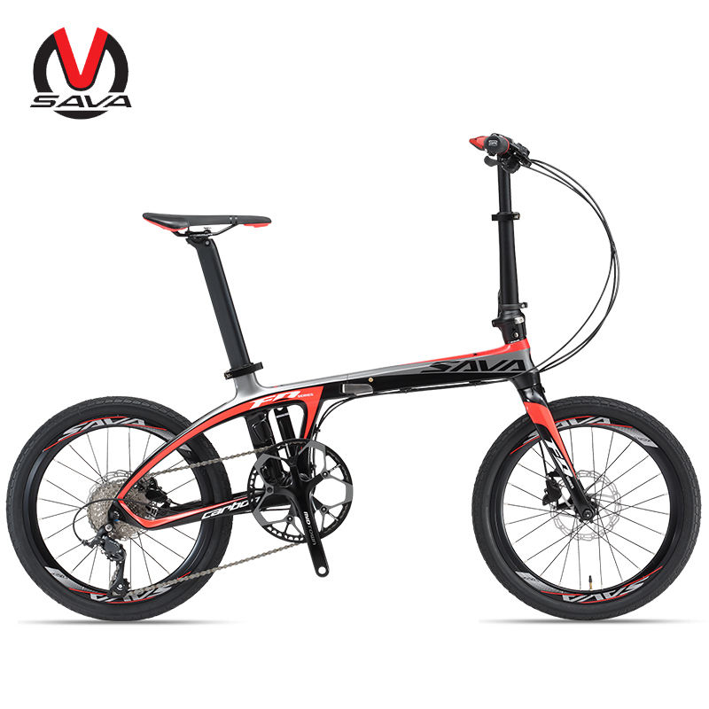 Folding Bike T700 Carbon Fiber Frame Ultralight 9 Speed SHIMANO 3000 Derailleur Mini Compact City Tour Bike