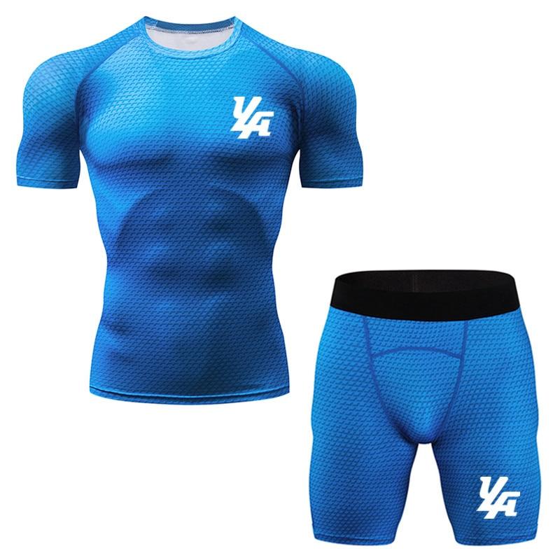 Energisch Männer Kompression Läuft Jogging Anzüge Kleidung Sport Set Kurzen ärmeln T Shirt Und Shorts Gym Fitness Workout Strumpfhosen Kleidung Clear-Cut-Textur