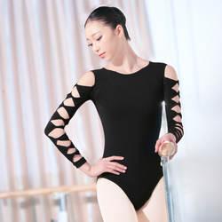 2019 Новое поступление 3/4 длинный рукав женский танцевальный купальник хлопок спандекс гимнастический костюм для женщин открытая спина