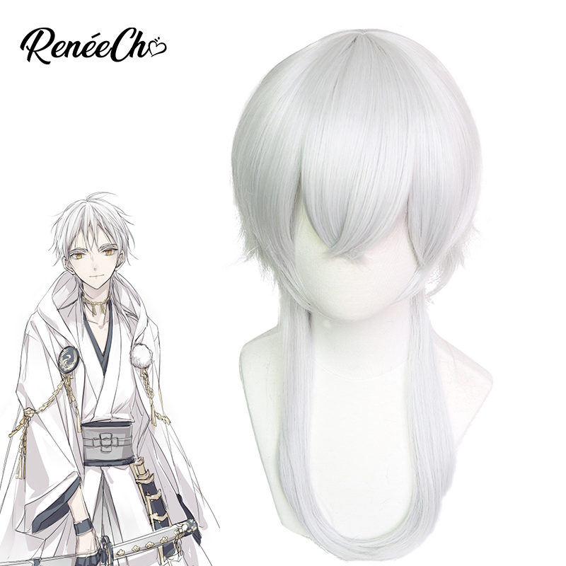 Devoted Touken Ranbu Online Cosplay Tsurumaru Kuninaga Wig Cosplay Men Synthetic Hair Role Play Grey Wig For Anime Cosplay Ample Supply And Prompt Delivery