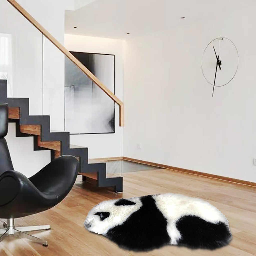 黒、白パンダフェイク毛皮の羊のウールの敷物マットシャギーふわふわソフトコージー暖かい PlushShaggy 絹のような豪華なカーペットホワイトフェイクの毛皮の敷物