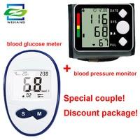 Automatic Digital Blood Pressure Monitor Wrist Tonometer + Blood Glucose Meter Met 50pcs Strips And Needles Lancets Blood Sugar