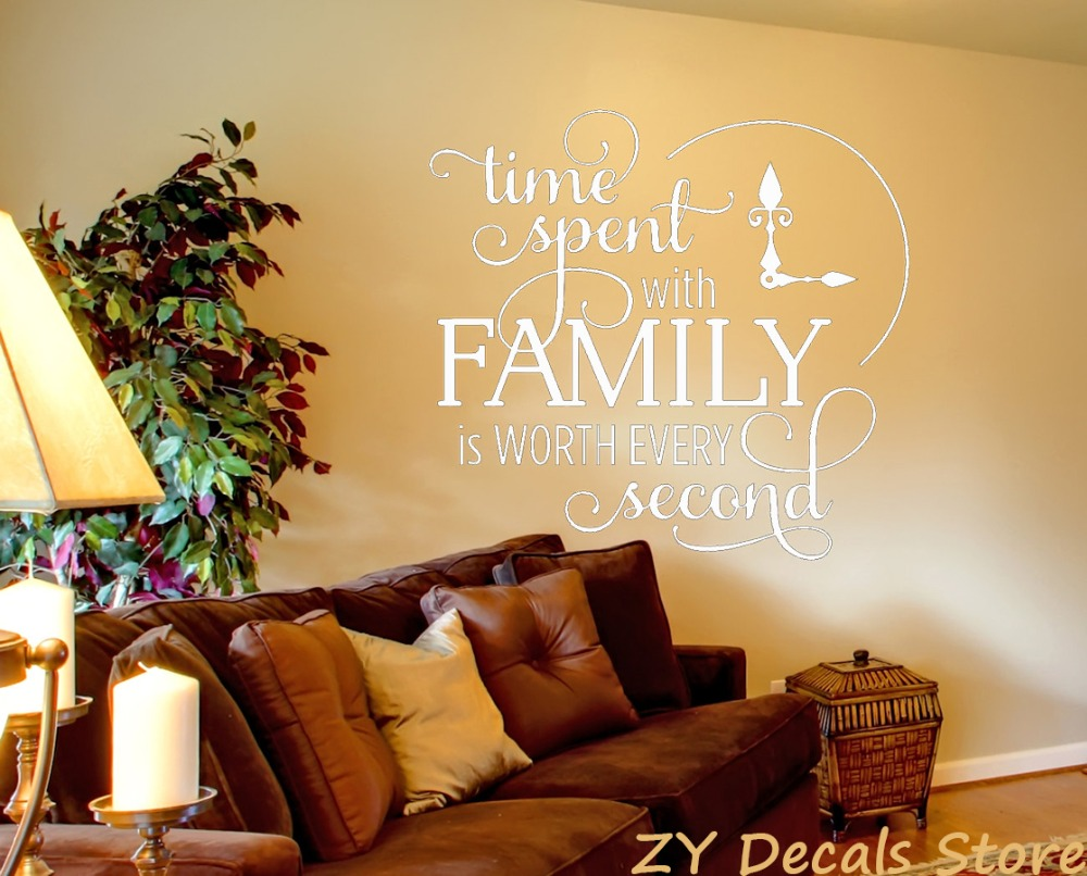 Time Spent Wall Decor Decals Living Room Inspirational Quote Vinyl ...
